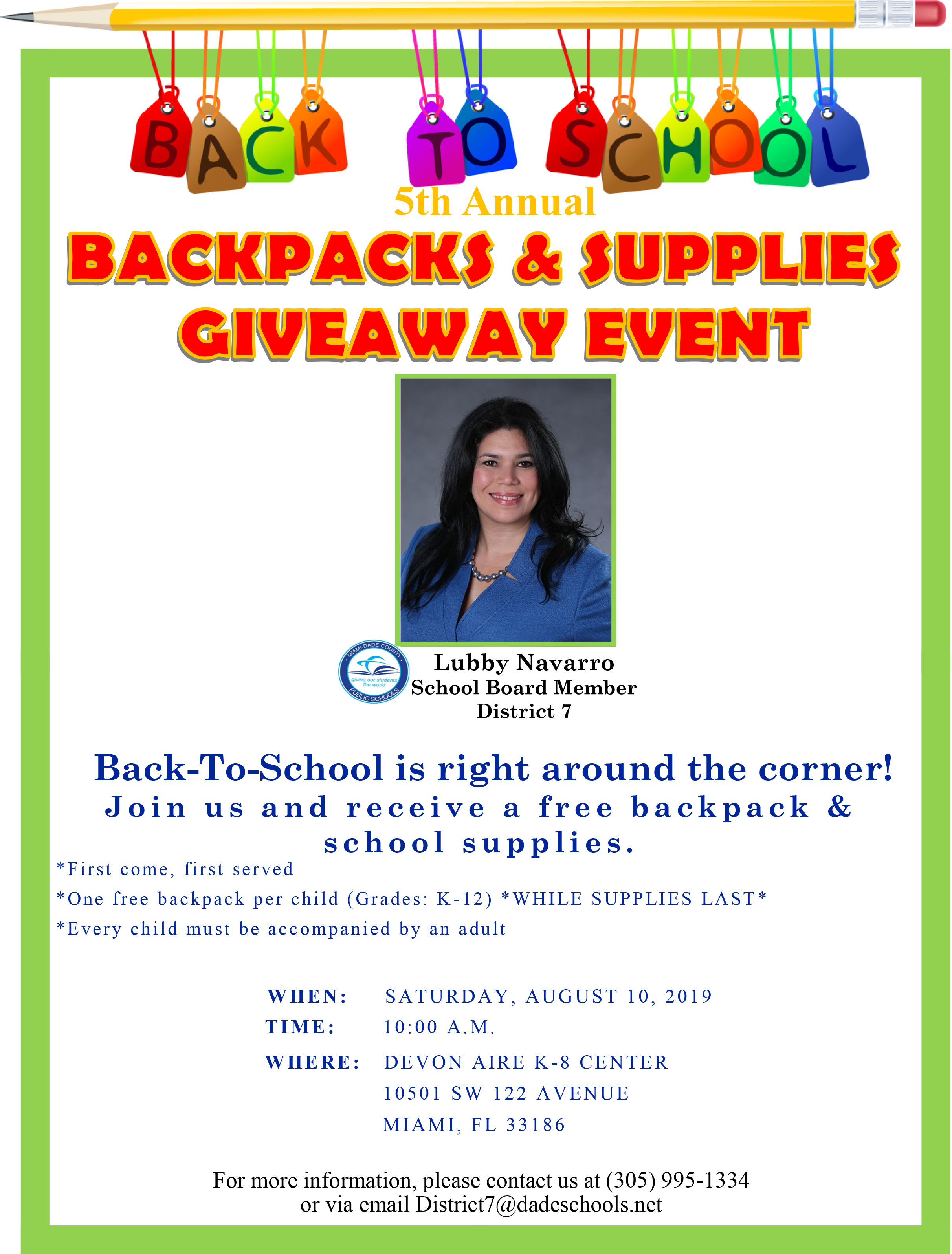 5th Annual Backpack & Supplies Giveway @ DEVON AIRE K-8 CENTER   Miami   Florida   United States
